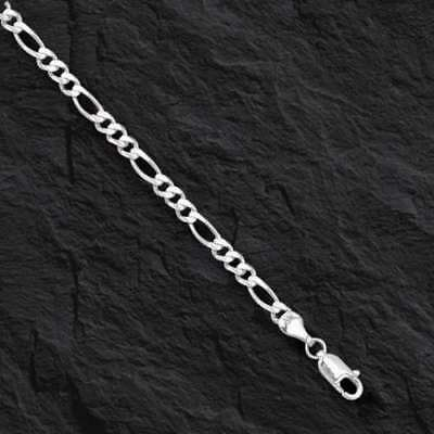 14kt Solid White Gold Mens Figaro curb link chain/Bracelet 8