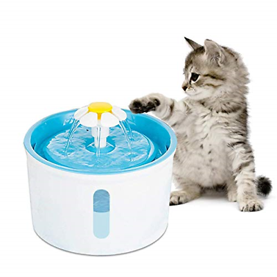 Pet Fountain Cat Water Dispenser - 1.6L Super Quiet Clear Window Flower Electric