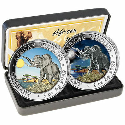 2016 1 oz Somalian Silver Elephant Day and Night Two-Coin Set (500 Mintage)