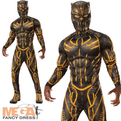 Deluxe Killmonger Mens Fancy Dress Black Panther Villain Suit Adults Costume New - Villain Suit