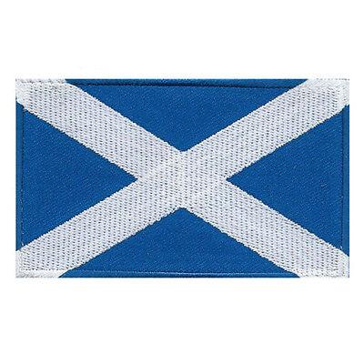 SCOTLAND FLAG SALTIRE SCOTTISH ALBA SAINT ANDREW CROSS EMBROIDERED PATCH SIZE M