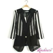 Womens Striped Blazer