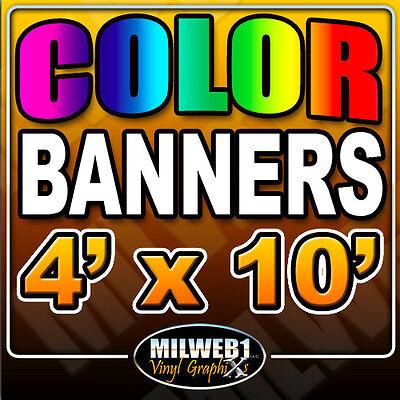 4x 10 Custom Vinyl Banner 13oz Full Color 48x120