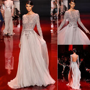 Elie Saab Sheer Beaded Evening Prom Dress Pageant Party Gown Custom All Size