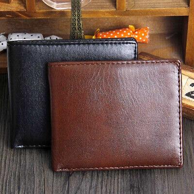 Men Faux Leather Card Holder Zipper Pocket Money Clip Business Bifold Wallet U