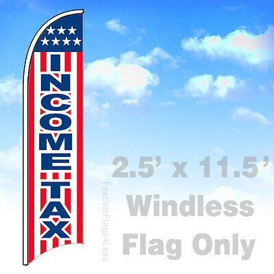 Income Tax - Windless Swooper Feather Flag 2.5x11.5 Sign Stars Stripes Wb