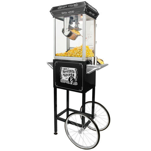 FunTime 4oz Black Popcorn Popper Machine Maker Cart Vintage Style- FT454CB