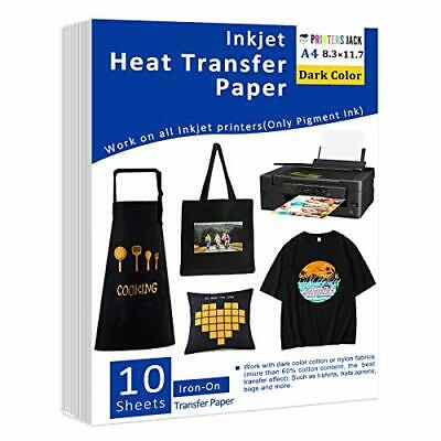 Iron-on Heat Transfer Paper For Dark Fabric 10 Sheets 8.3x11.7 T-shirt Trans...