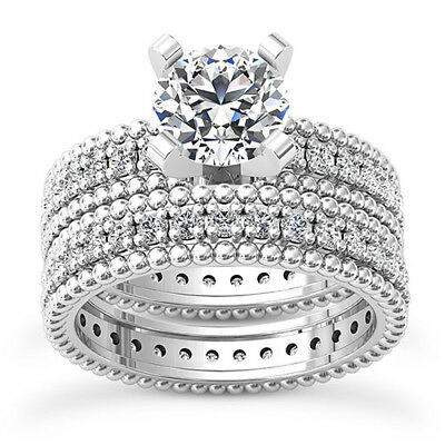1 3/4 Carat F/VS2 Wedding Diamond Engagement Ring Enhanced Round 14K White Gold