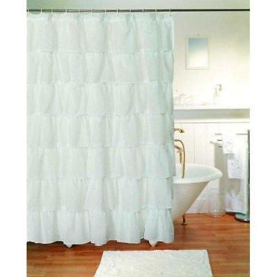 "Gee Di Moda Gypsy Ruffled Shower Curtain White 70"" wide x 72"" long New"