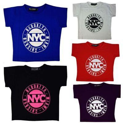 Brooklyn Kinder T-shirt (Kinder Mädchen Nyc Brooklyn Miami Chicago Aufdruck Bauchfrei Top T Shirt)