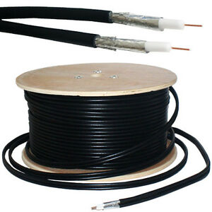 50M RG6 TWIN COAXIAL SHOTGUN CABLE - AERIAL SATELLITE DISH LNB- SKY+/HD FREESAT