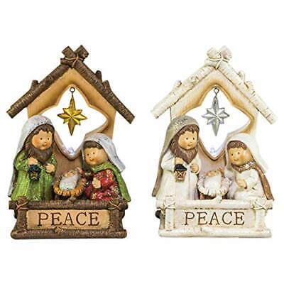 Guiding Star Ornaments (Guiding Star Peace Manger Cream 7 x 5 Resin Stone Christmas Figurines Set of 2)