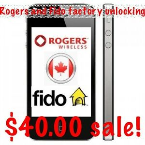 iPhone 6s/6, 5s/5, 4s/4 Rogers/Fido $40.00 Factory Unlocking
