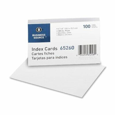 Business Source Plain Index Card - 100 - 165 Gm - 6 X 4 - 100 Pack - White