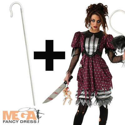 Little Bo Peep Creep + Staff Ladies Fairy Tale Halloween Womens Adults Costume  - Little Bo Peep Adult Costume