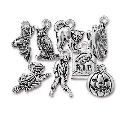 Halloween Charms Pewter Cat Owl Pumpkin Grave Bat Ghost Witch Charm Choice - Halloween Owl Bat