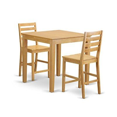 East West Furniture PBCF3-OAK-W 3 Piece Pub Table and 2 Kitchen Bar Stool Set ()
