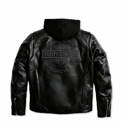 Harley Davidson Men's ROAD WARRIOR B&S Leather Jacket 3in1 Hoodie S M 98138-09VM