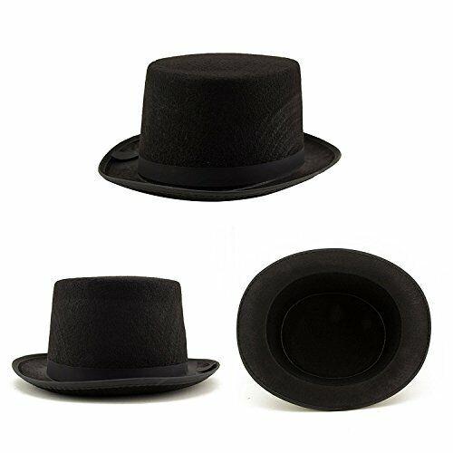 Black Satin Magician Top Hat Men Women Steampunk Accessory Formal Dickens Dress