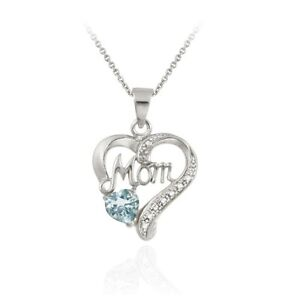 Sterling Silver Gemstone & Diamond Accent Mom Heart Necklace, 3 Colors