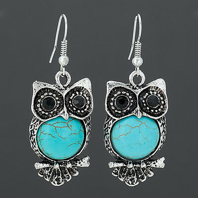 Antique Silver Owl Turquoise Drop Dangle Style Vintage Earrings