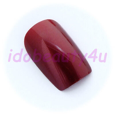 24 LOOSE FALSE NAIL TIPS MANICURE NAILS RED MAUVE WITH GLUE 10 SIZES