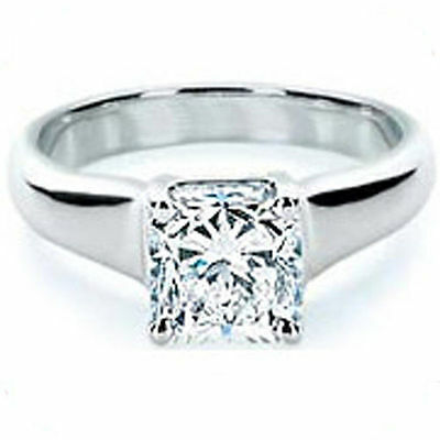 1 ct Princess cut Diamond Engagement Wedding 18K White Gold Ring GIA H SI1