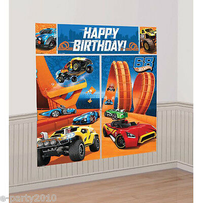 HOT WHEELS Wild Racer SCENE SETTER (5pc) ~ Birthday Party Supplies - Hot Wheels Birthday Decorations