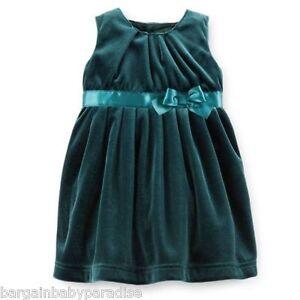 Details about carter s girls 2 pc green velvet christmas dress infant