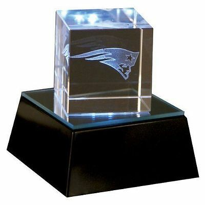 NEW ENGLAND PATRIOTS Rare Square Logo Crystal laser Cube Light up base NFL Lic. Logo Cube Crystal
