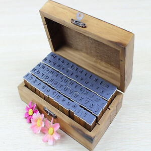 70pcs/set Wooden Box multipurpose Number Alphabet Letter Wood Rubber Stamp New