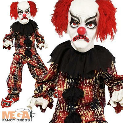 Scary Clown + Mask Boys Halloween Fancy Dress Party Costume Kids Childs Outfit