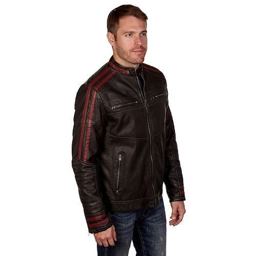 XRAY mens Slim Fit Washed Faux Leather Moto Jacket Leather Jacket