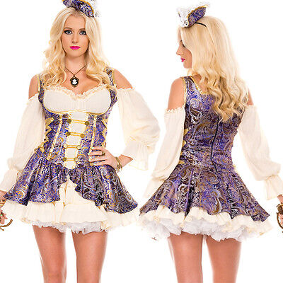 Pirate Wench Renaissance Floral Captain Halloween Costume Mini Dress & Hat S-XL