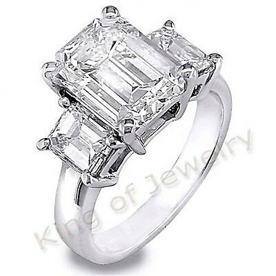 3.0 Ct Emerald Cut Diamond Engagement Ring Anniversary H, VS1 GIA 14kw NATURAL