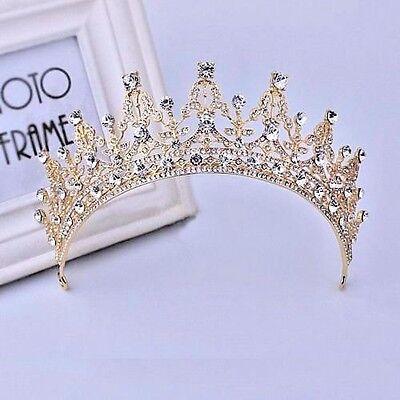 New Baroque Gold Bridal Girl Prom Jewelry Rhinestone Crown Tiara Comb HeadBand