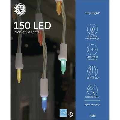 NEW - GE StayBright® 150 LED Multicolor Icicle Mini Christmas Lights