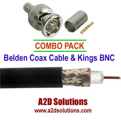 COAX / BNC Combo Pack - 1,000 ft  Belden 1694A Black & 50 Kings BNC Connectors