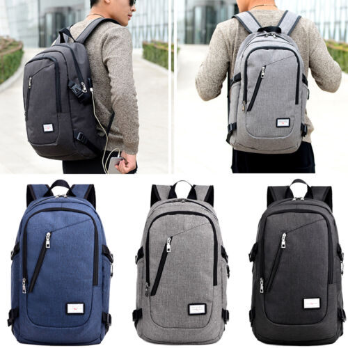 Men's Laptop Backpack High school Book Bag Travel Rucksack with USB Charge Interface