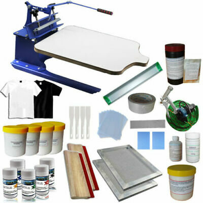 Updated 1 Color Screen Printing Press Kit Machine Ink Squeegee Diy Supply New