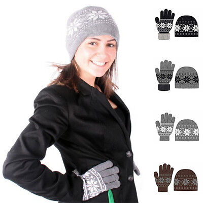 Ladies Nordic Winter 2 Piece Hat   Gloves Gift Set In 6 Colors Cmd