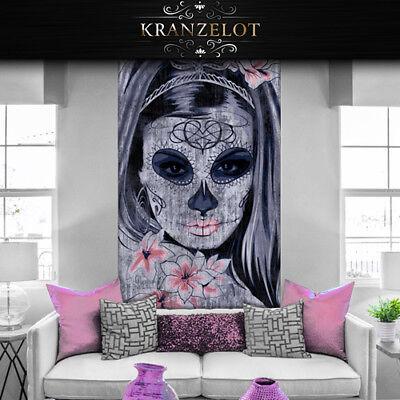 wandtattoo Tapete Türfolie Bordüre Folie Halloween Mädchen Skull - Halloween Wandtattoos