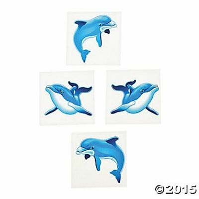 72 Dolphin Ocean Theme Temporary Tattoos Kids Birthday Party Favors Gifts Luau (Ocean Themed Tattoos)