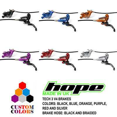 Hope Tech 3 V4 Downhill Brakes - Black / Braided Hose - All Colors - Brand New