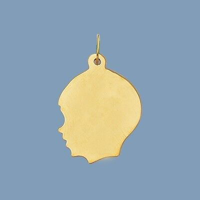 Large Boy Head Charm Pendant Real Solid 14K Yellow Gold FREE ENGRAVABLE 14k Boy Head Charm