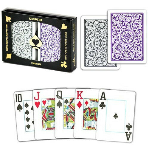 New COPAG 100% Plastic Playing Cards Poker Size Jumbo Index Purple Grey