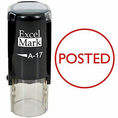New Excelmark Posted Round Self Inking Rubber Stamp A17 Red Ink