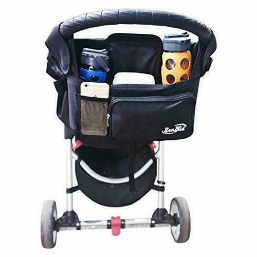 Zen Kid Black Stroller Organizer Baby  Accessory Insulated Cup NEW