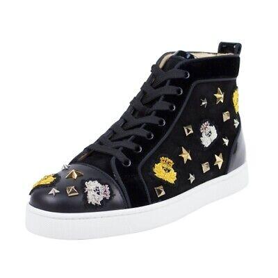 NIB CHRISTIAN LOUBOUTION 'Loubacademia' Black Suede Hi-Top Sneakers Shoes 6/39